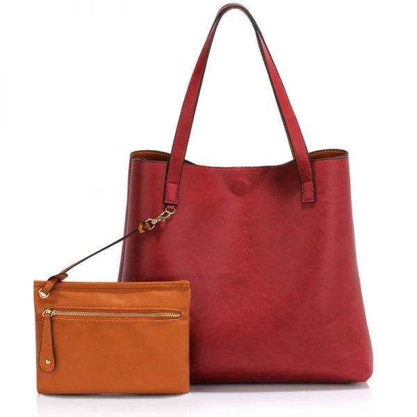 LS00493 Handbag Reversible With Free Pouch – Burgundy Brown_1_