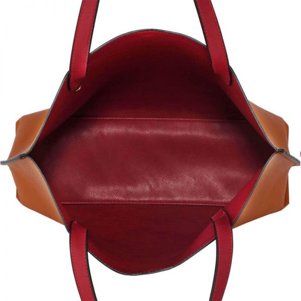 LS00493 Handbag Reversible With Free Pouch – Burgundy Brown_3_