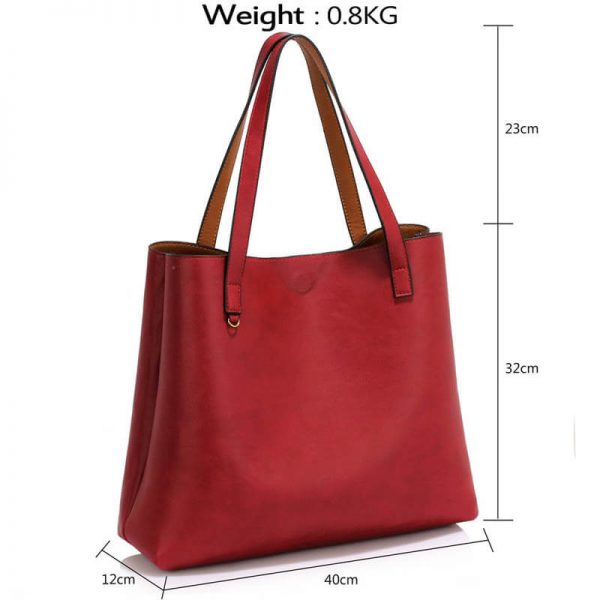 LS00493 Handbag Reversible With Free Pouch – Burgundy Brown_4_