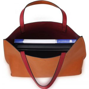 Handbag Reversible With Free Pouch - Burgundy Brown
