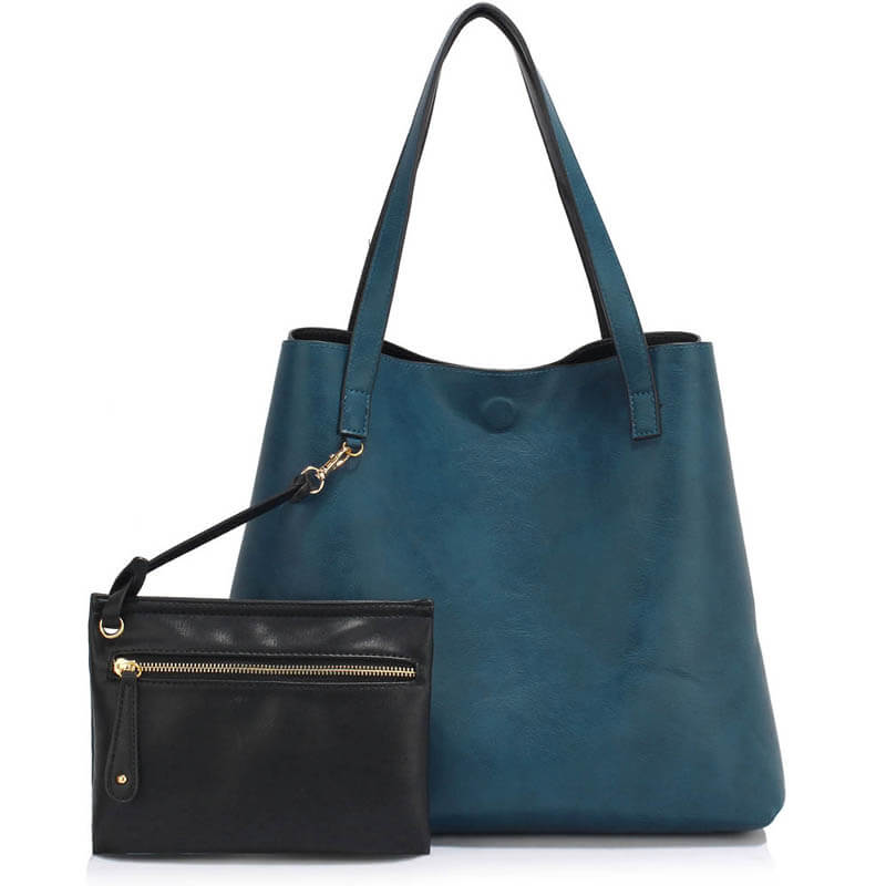 Handbag Reversible With Free Pouch - black navy_
