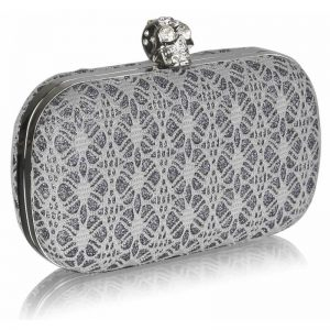 Grey Satin Evening Clutch Bag