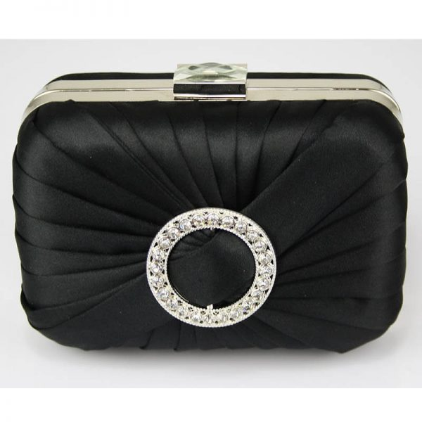 LSE0071 – Black Gorgeous Satin Rouched Brooch Hard Case