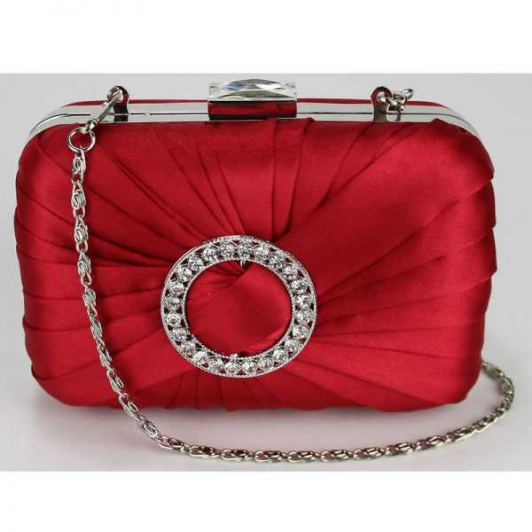 LSE0071 – Red Gorgeous Satin Rouched Brooch Hard Case _(4)