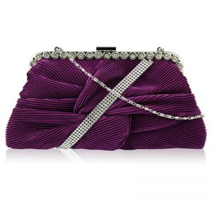 Purple Crystal Evening Clutch Bag