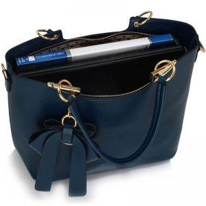 Navy Bow Tie Shoulder Handbag