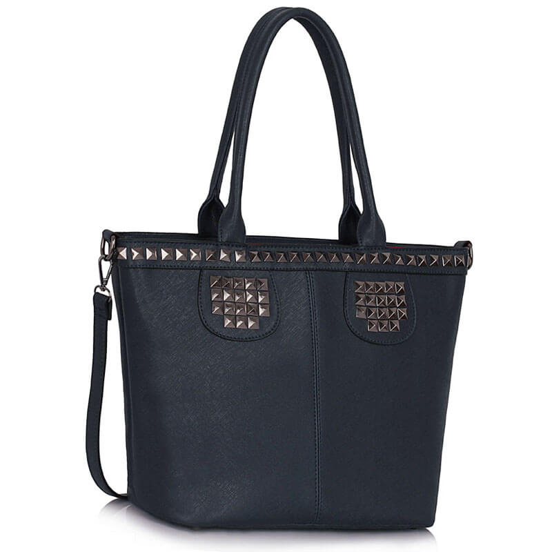 Navy Studded Shoulder Handbag