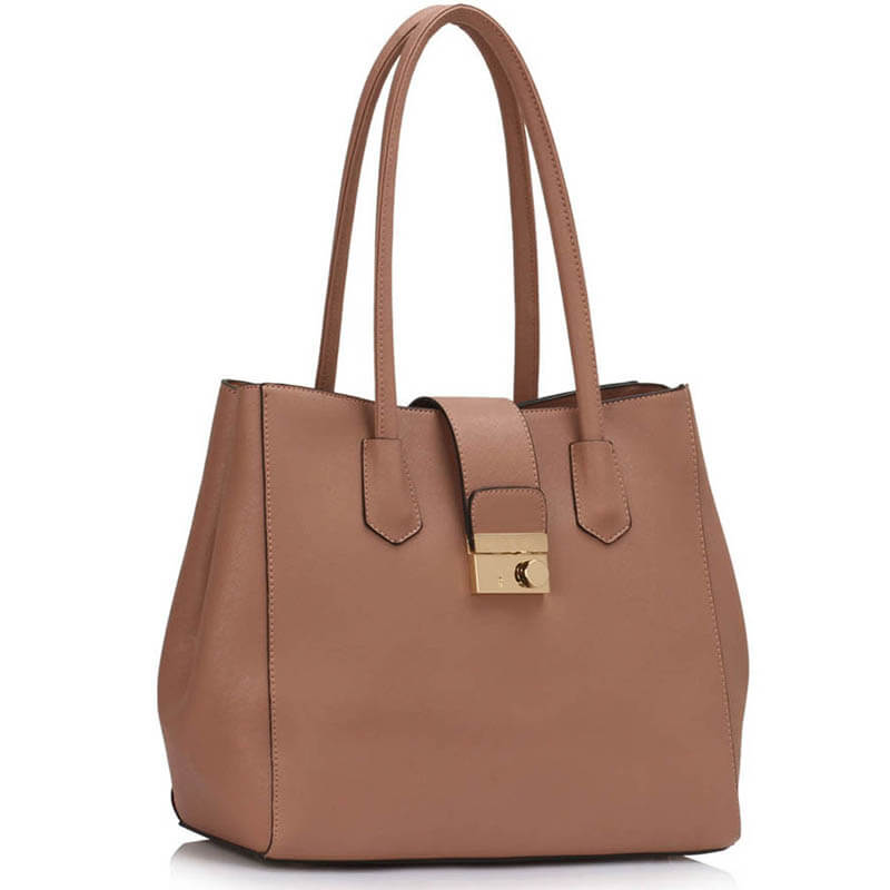 Nude Shoulder Tote Handbag