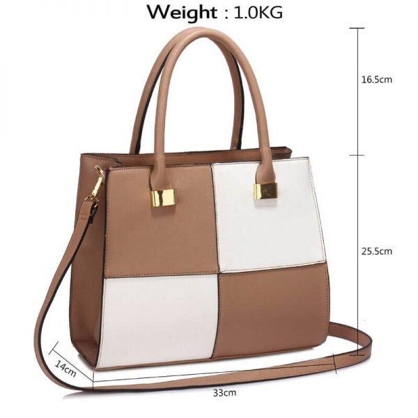 Nude White Fashion Tote Handbag – LS00153M_(4)