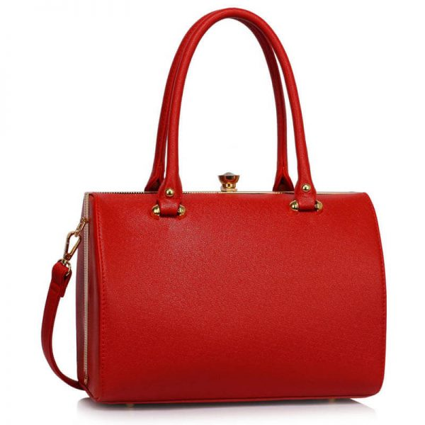 Red Structured Metal Frame Top Handbag – LS00510_1_