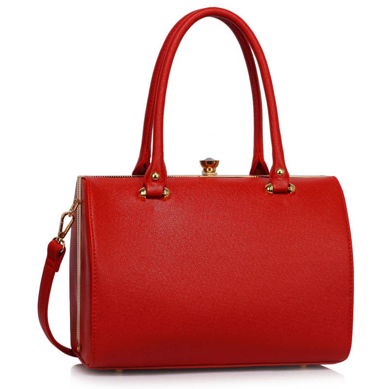Red Structured Metal Frame Top Handbag