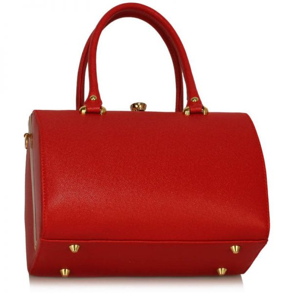 Red Structured Metal Frame Top Handbag – LS00510_2_