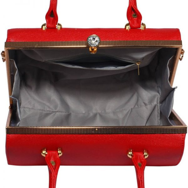 Red Structured Metal Frame Top Handbag – LS00510_3_