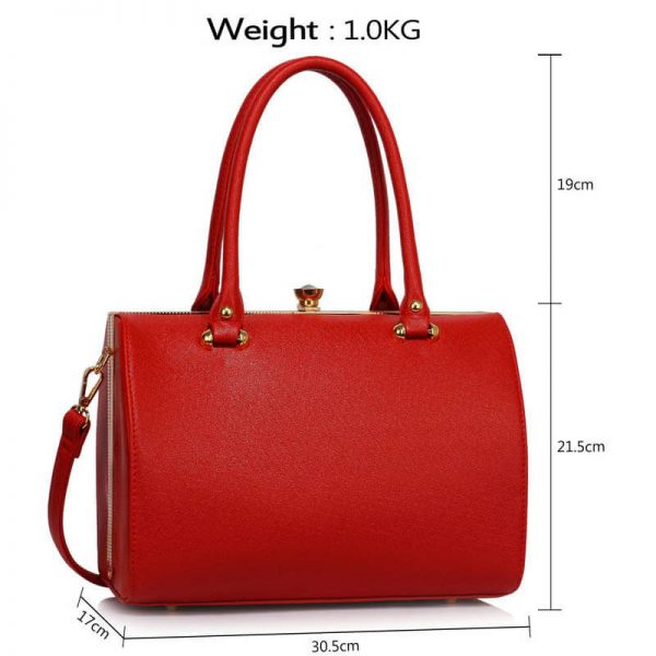 Red Structured Metal Frame Top Handbag – LS00510_4_