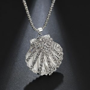 Shell Design Long Silver Necklace
