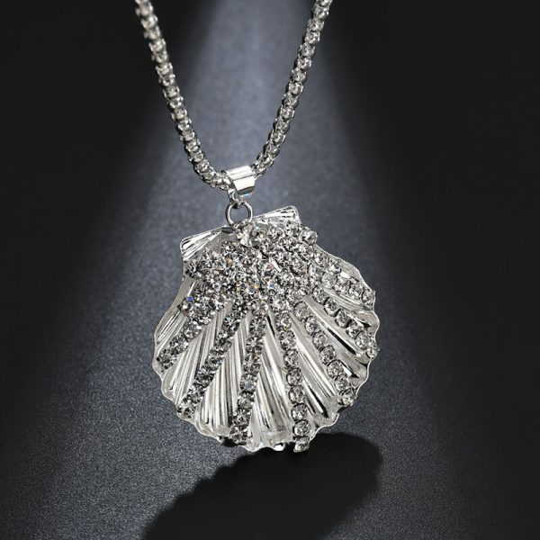 Shell Design Long Silver Necklace 1