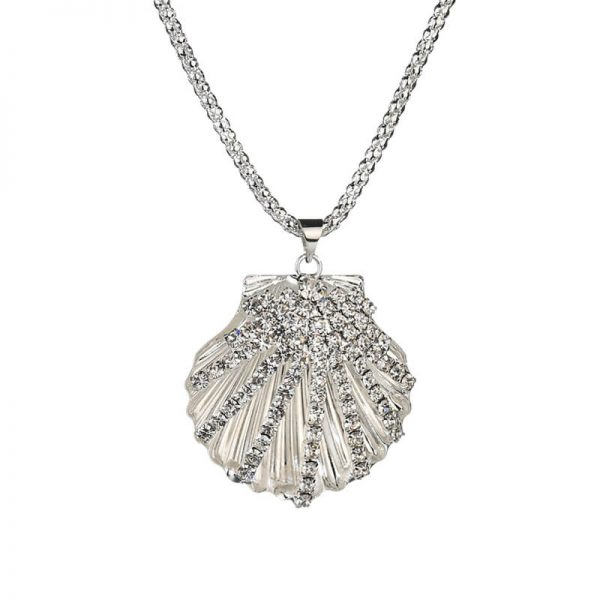 Shell Design Long Silver Necklace 2