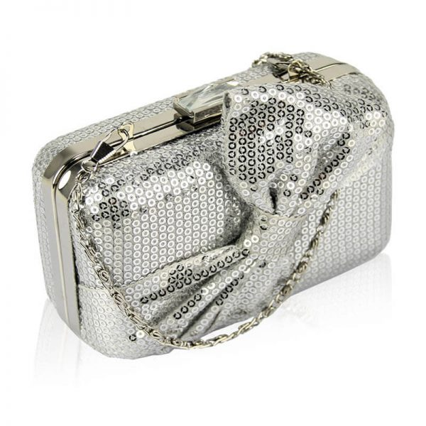 Silver Sequin Clutch Tie-Bow HandBag – LSE0072–1