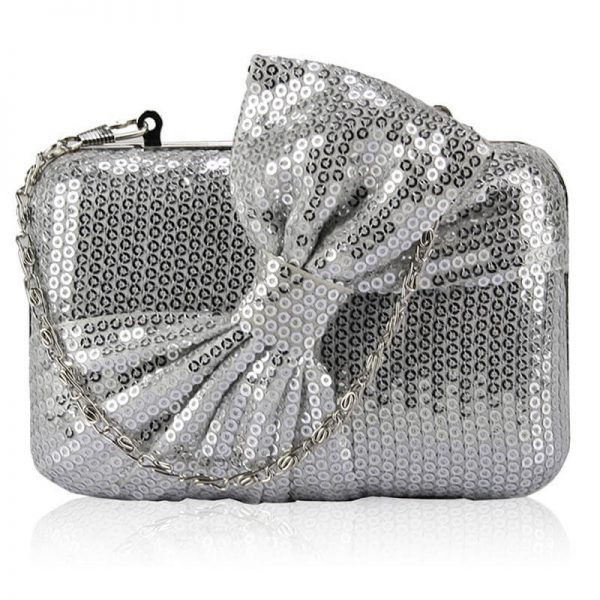 Silver Sequin Clutch Tie-Bow HandBag – LSE0072