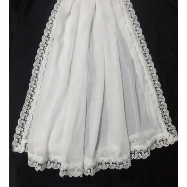 ZD14 WEBWhite Chiffon Dupatta Large With Lace On All 4 Sides 1