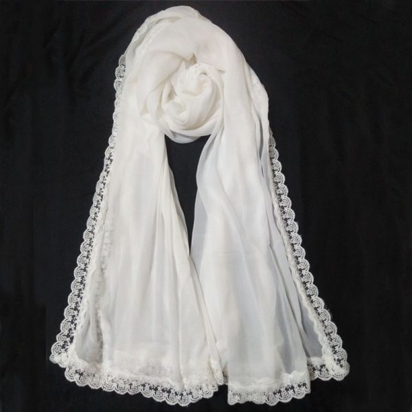 ZD14 White Chiffon Dupatta Large With Lace On All 4 Sides WEB