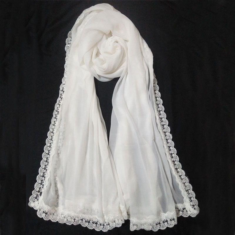 White Chiffon Dupatta Large With Lace On All 4 Sides 1