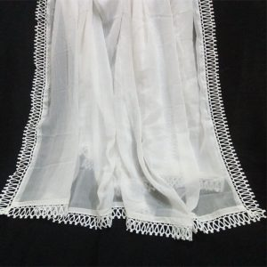 White Chiffon Dupatta Large With Lace2