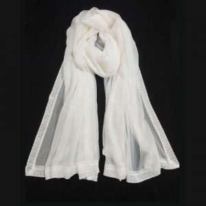 White Chiffon Dupatta Large With Lace