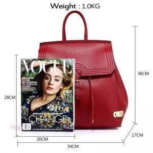 burgundy backpak bag