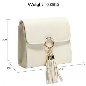 Ivory Flap Clutch Purse With Tassel