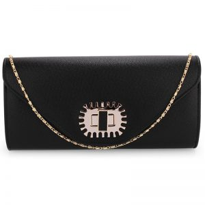 Black Flap Over Twist-Lock Clutch Purse