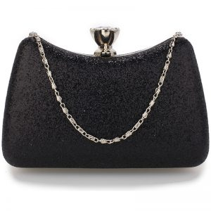 Black -Hard Case Diamante Crystal Clutch Bag
