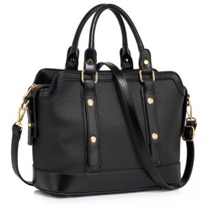 black Buckle Detail Tote Shoulder Bag