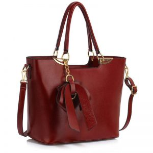 burgundy Bow Tie Shoulder Handbag
