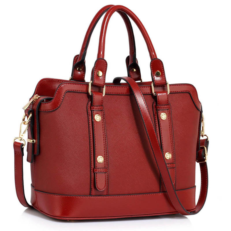 burgundy Buckle Detail Tote Shoulder Bag