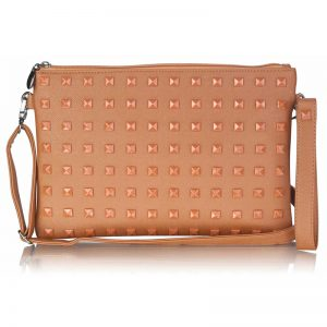 Coffee Studded Clutch Purse