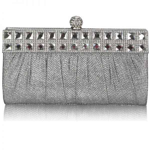 Silver Ruched Satin Clutch