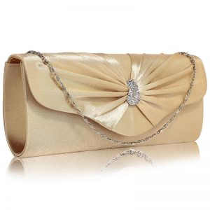 Nude Sparkly Crystal Satin Clutch purse