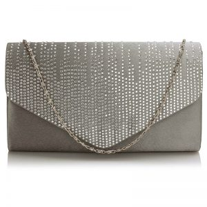Grey Diamante Design Evening Clutch Bag