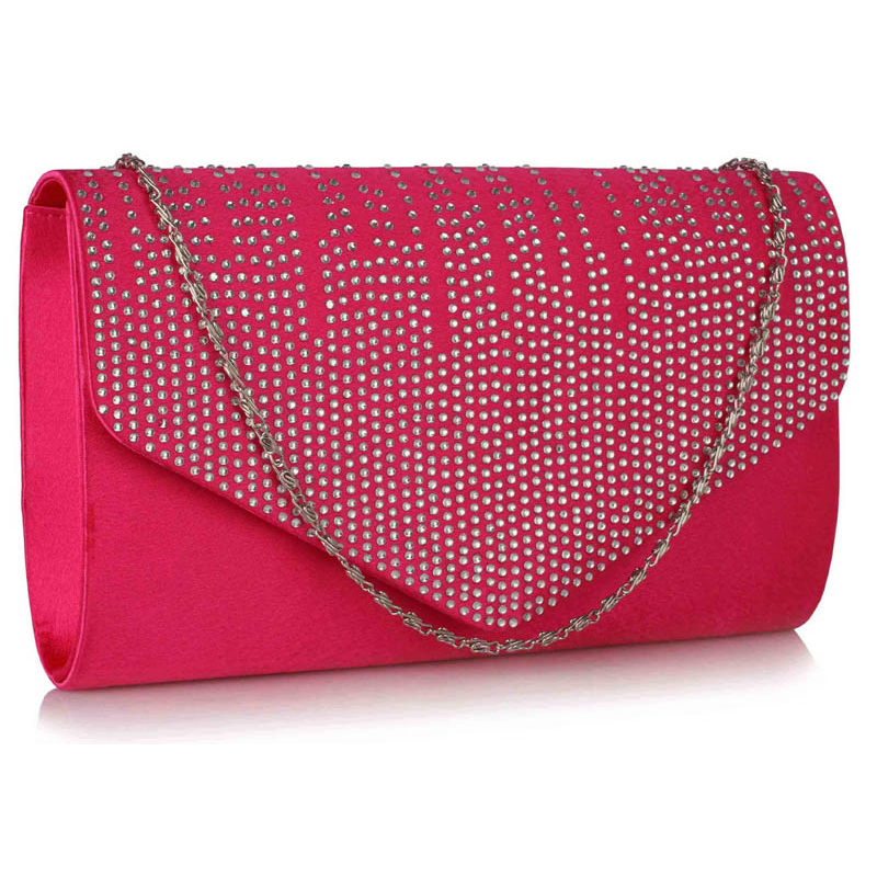 Pink Diamante Design Evening Clutch Bag