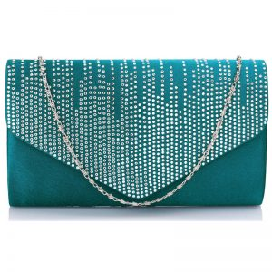 Teal Diamante Design Evening Flap Over Party Clutch Bag
