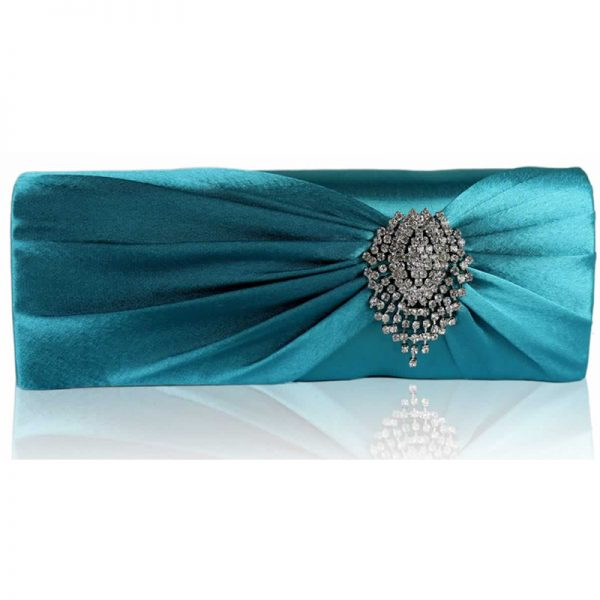 lse0077-turquoise-ruched-satin-clutch-with-crystal-flower-1