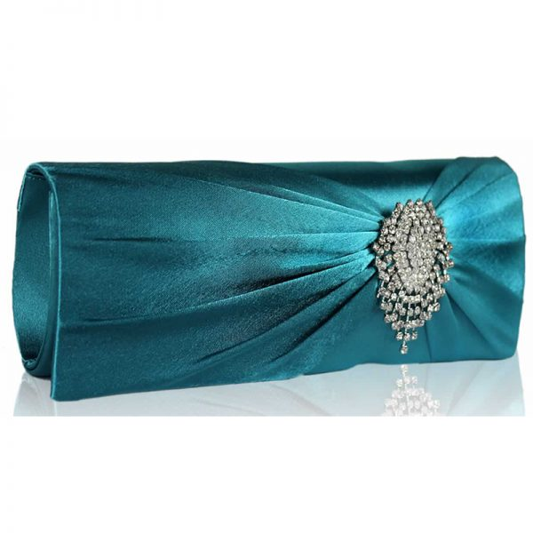 lse0077-turquoise-ruched-satin-clutch-with-crystal-flower