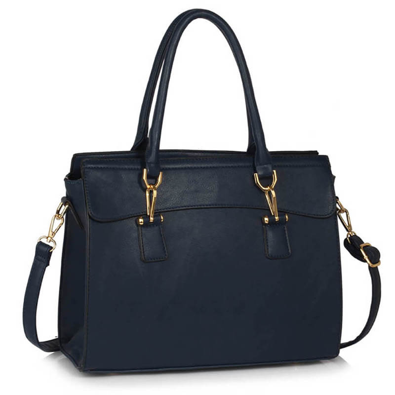 navy Faux Leather Handbag for Women