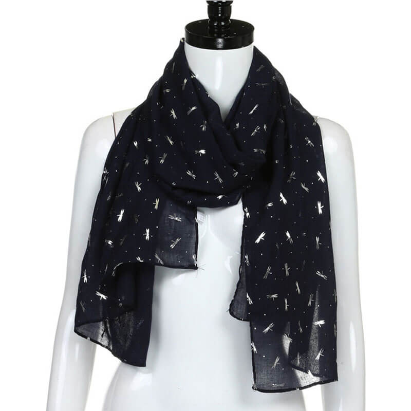 Navy Blue Foil Print Luxury Cotton Scarf