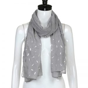 Grey Foil Print Luxury Cotton Scarf