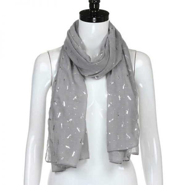 ASC16 Grey Foil Print Luxury Cotton Scarf