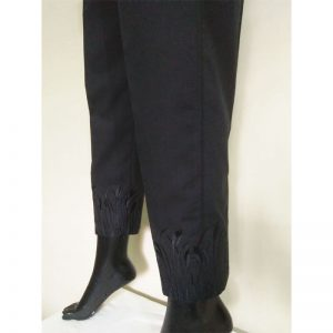 BlackTrouser With Beige Embroidery