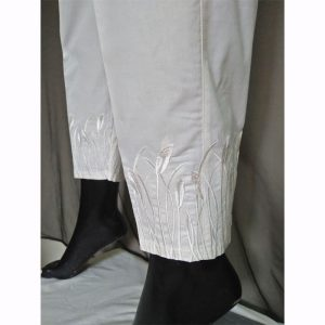 WhiteTrouser With Beige Embroidery