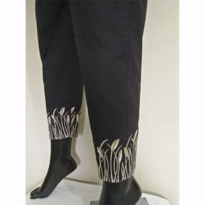 Black Gold Trouser With Beige Embroidery